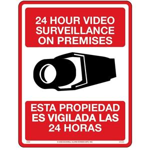 """Maxwell 8.5"""" x 11"""" Bilingual English-Spanish CCTV Sign"""