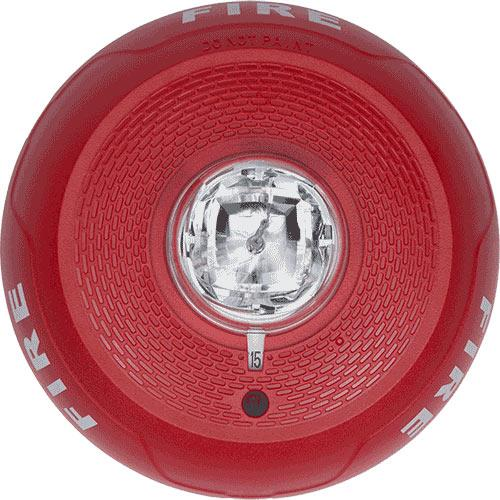 Strobe, Ceiling Mount, Fire, Red, Clear Lens
